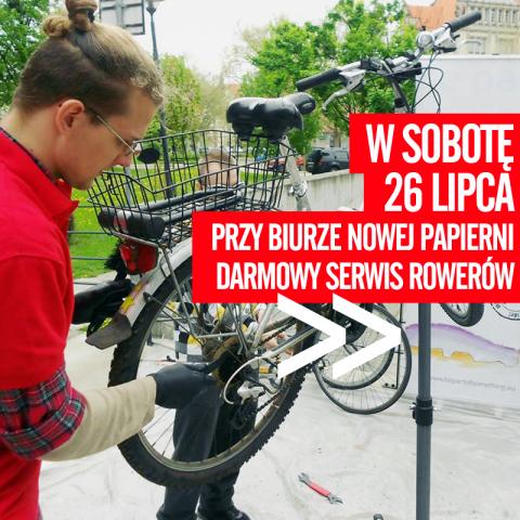 Za darmo naprawią rowery – finał akcji<br /><br />Darmowy serwis rowerowy ponownie pojawi się we Wrocławiu, żeby dokonać przeglądów <br />i napraw – w tym sezonie już po raz ostatni, za to z konkursem, w którym do wygrania będą rowerowe ga